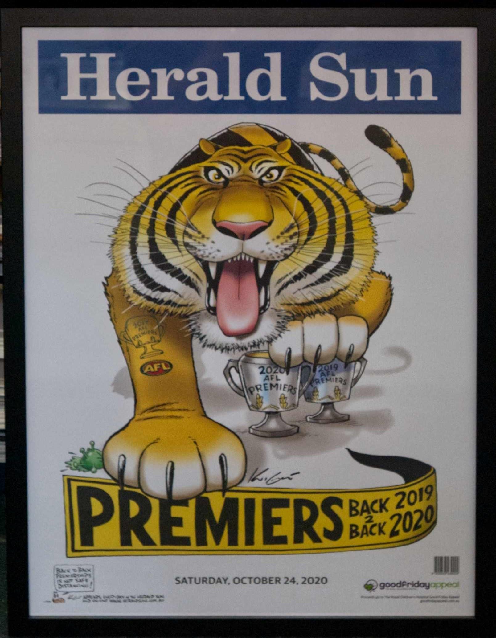 Framed Tigers Premiership Poster for sale $130.