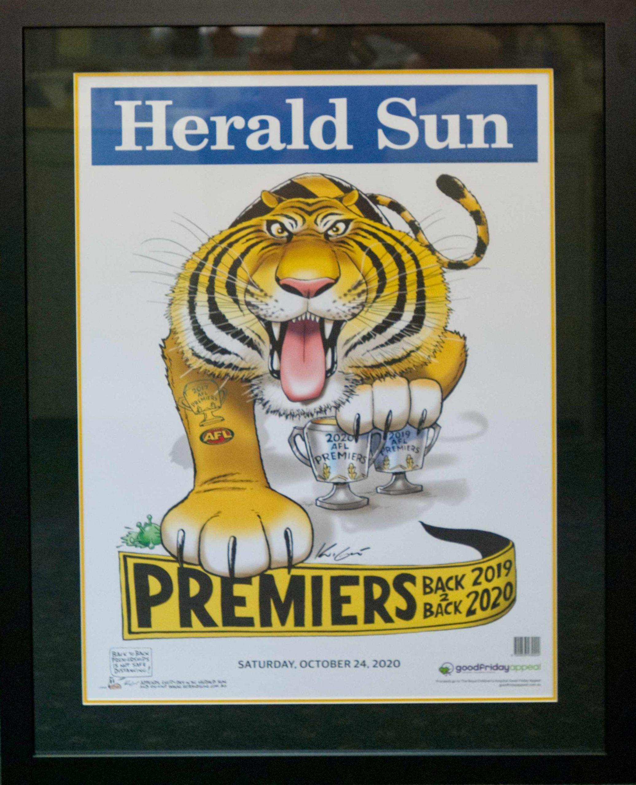 Framed Tigers Premiership Poster $260.