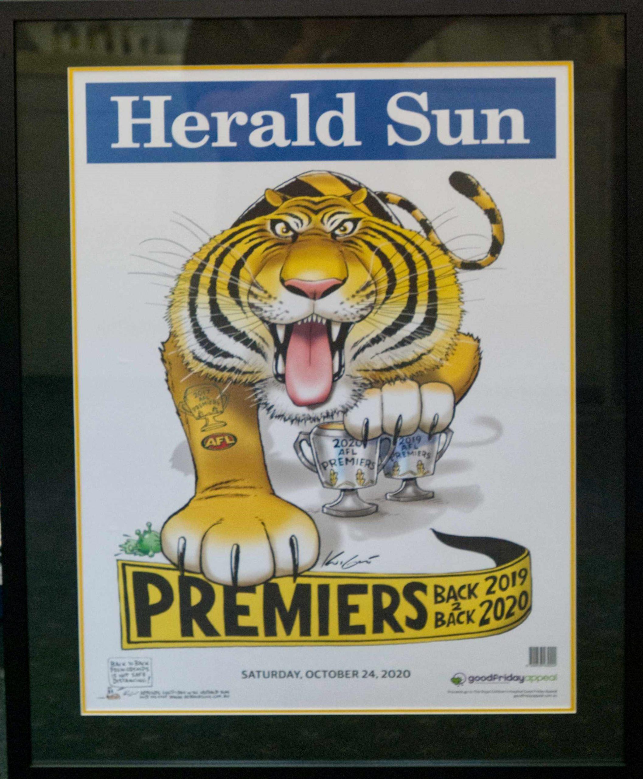 Framed Tigers Premiership poster for sale $250